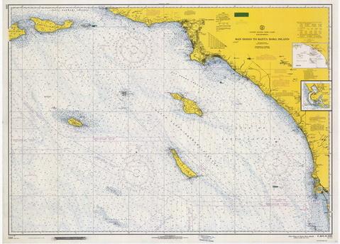 Pacific Coast Nautical Chart Big Area Post 1917