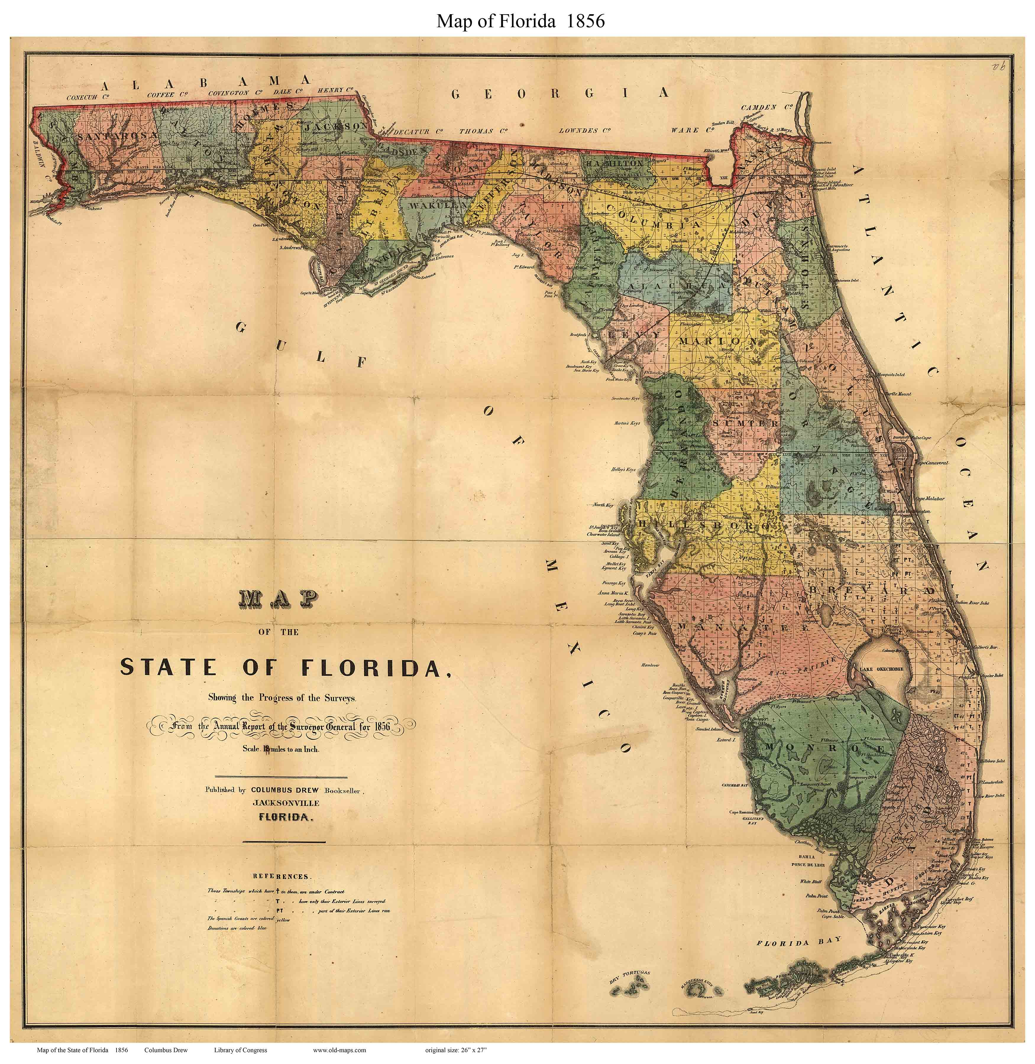 Old Maps Of Florida - County maps florida