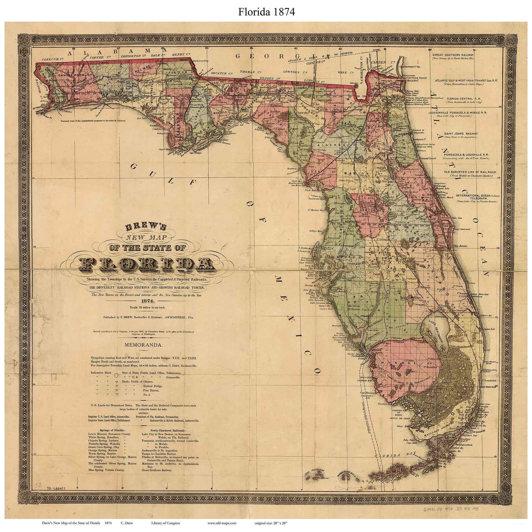 Old State Maps Of Florida - Florida state map