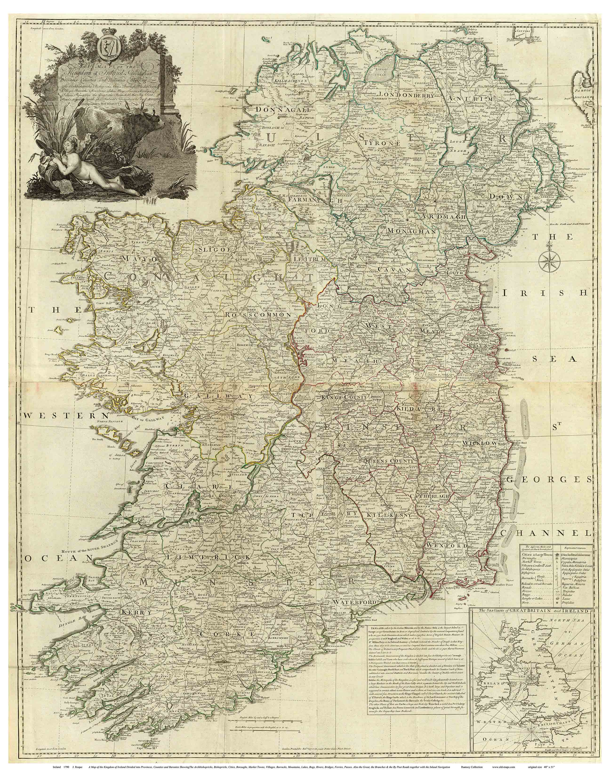 Large Map Of Ireland.Old Maps Of Ireland 1790 Roque