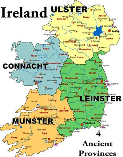 Old Maps Of Ireland - Ireland provinces map