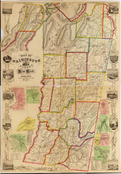 Washington County NY 1853  Wall Map Reprint