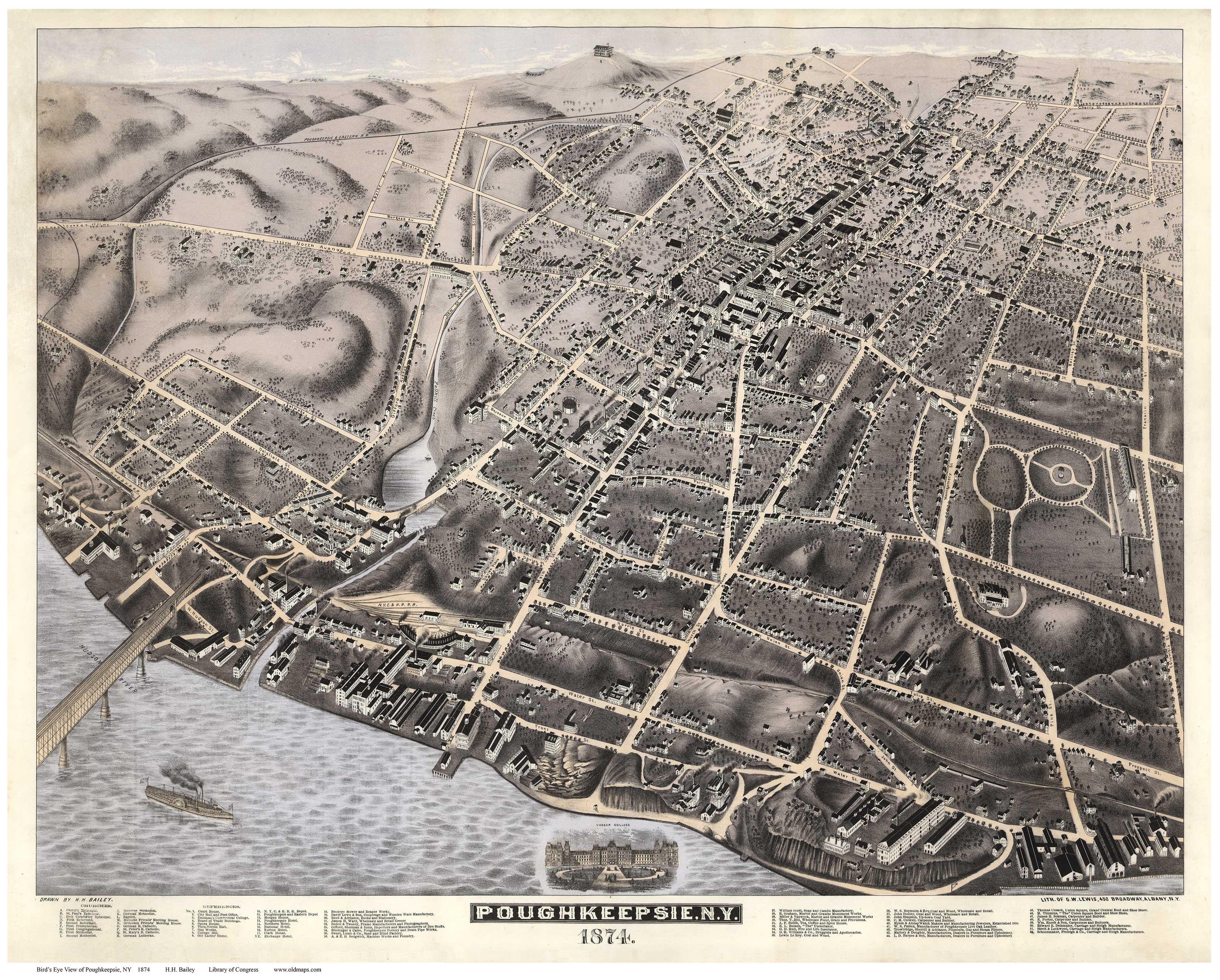 20x28 Bird/'s Eye View 1904 Larchmont New York Vintage City Map