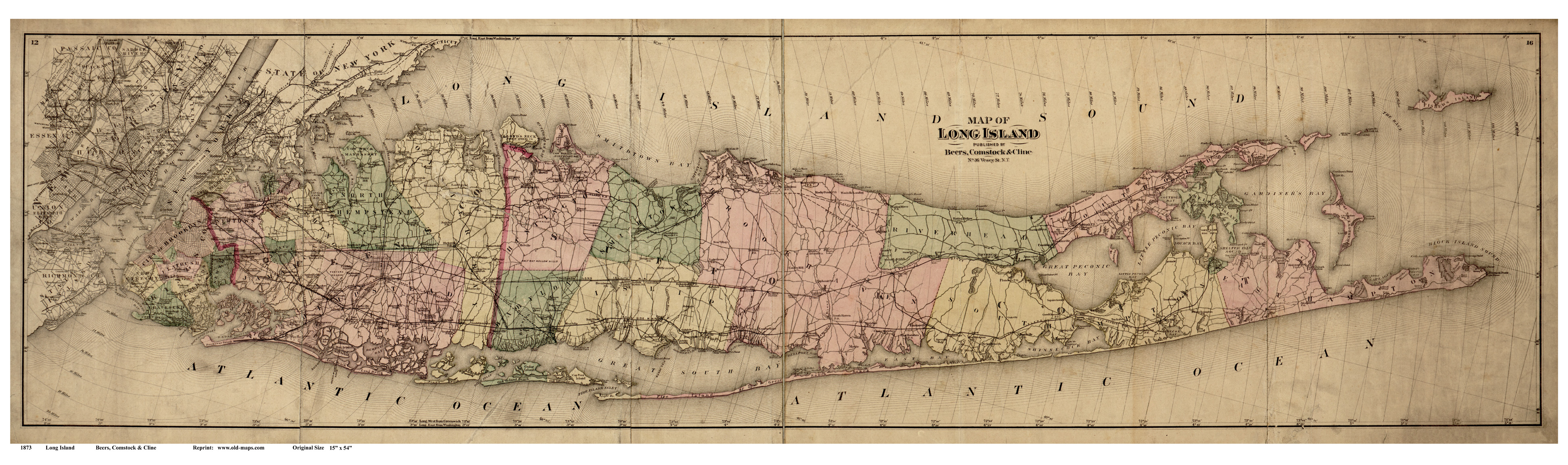 Old Maps Of Long Island New York - Old state maps for sale