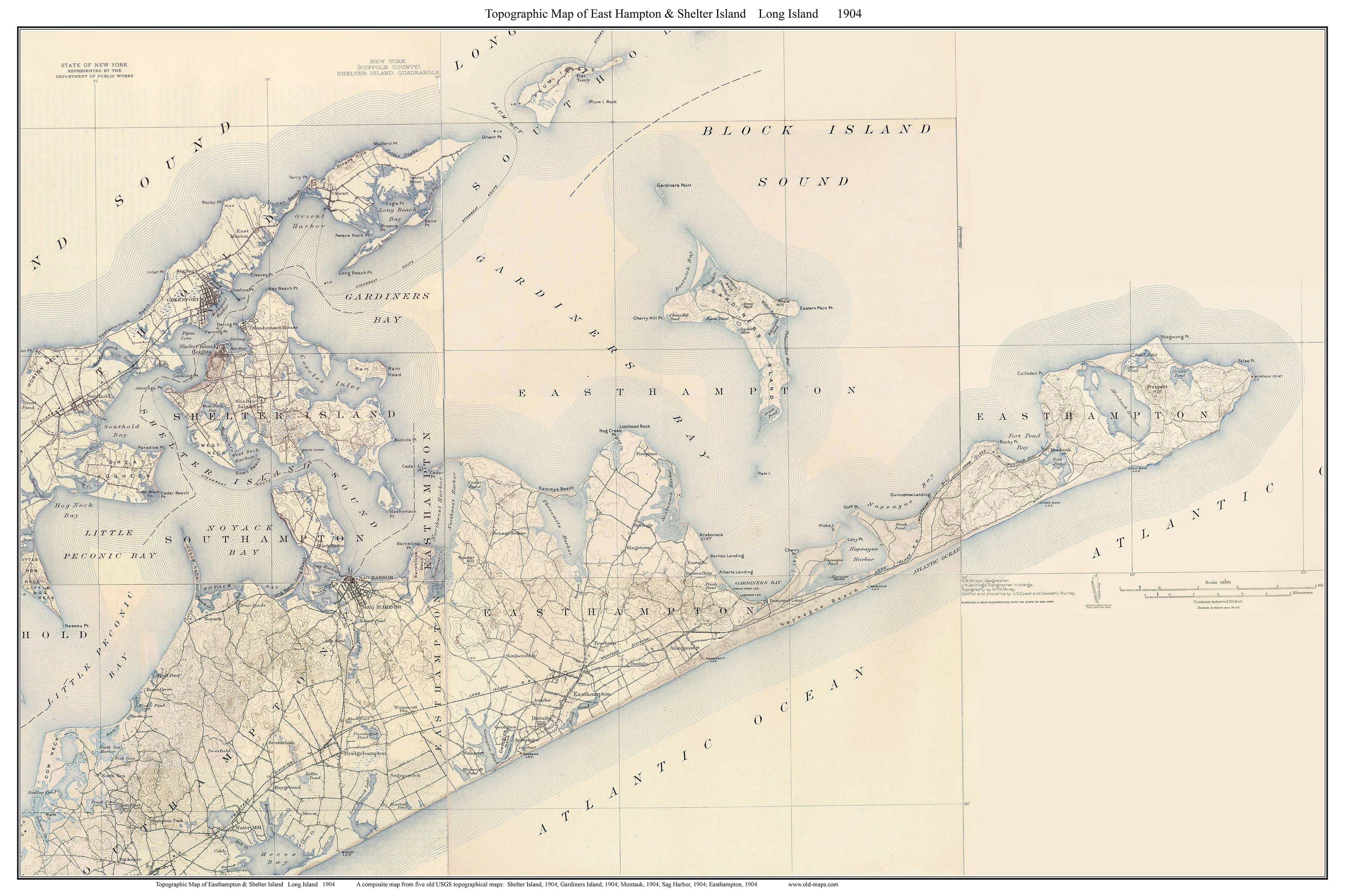 Old USGS Topographical Maps of Long Island New York  Large
