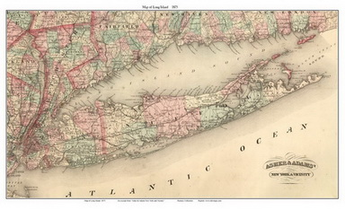 Old Map of Long Island, New York 1875