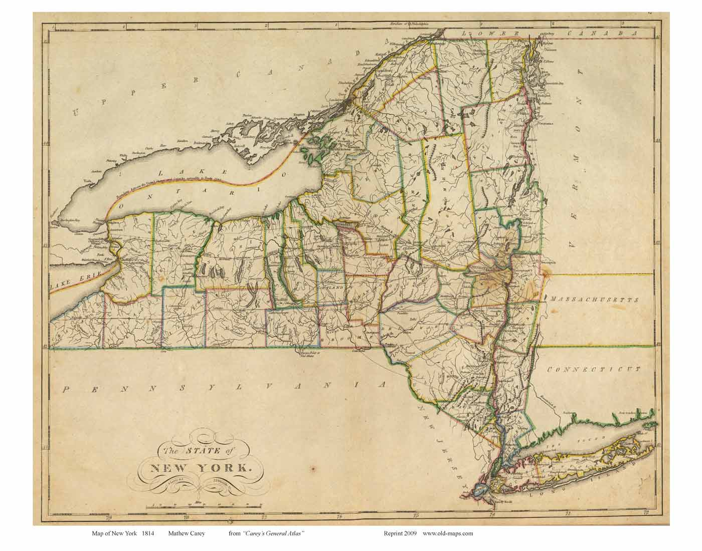State Map Of New York.Prints Of Old New York State Maps