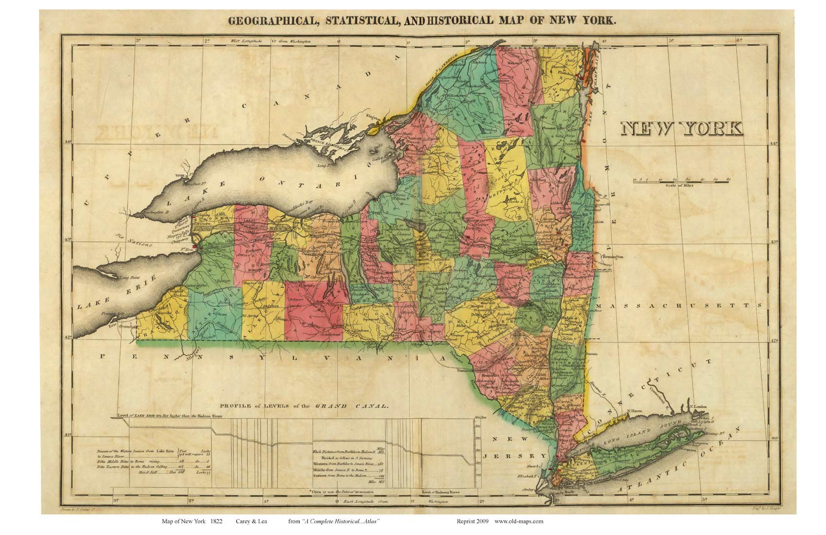 Prints Of Old New York State Maps - Map of state of new york