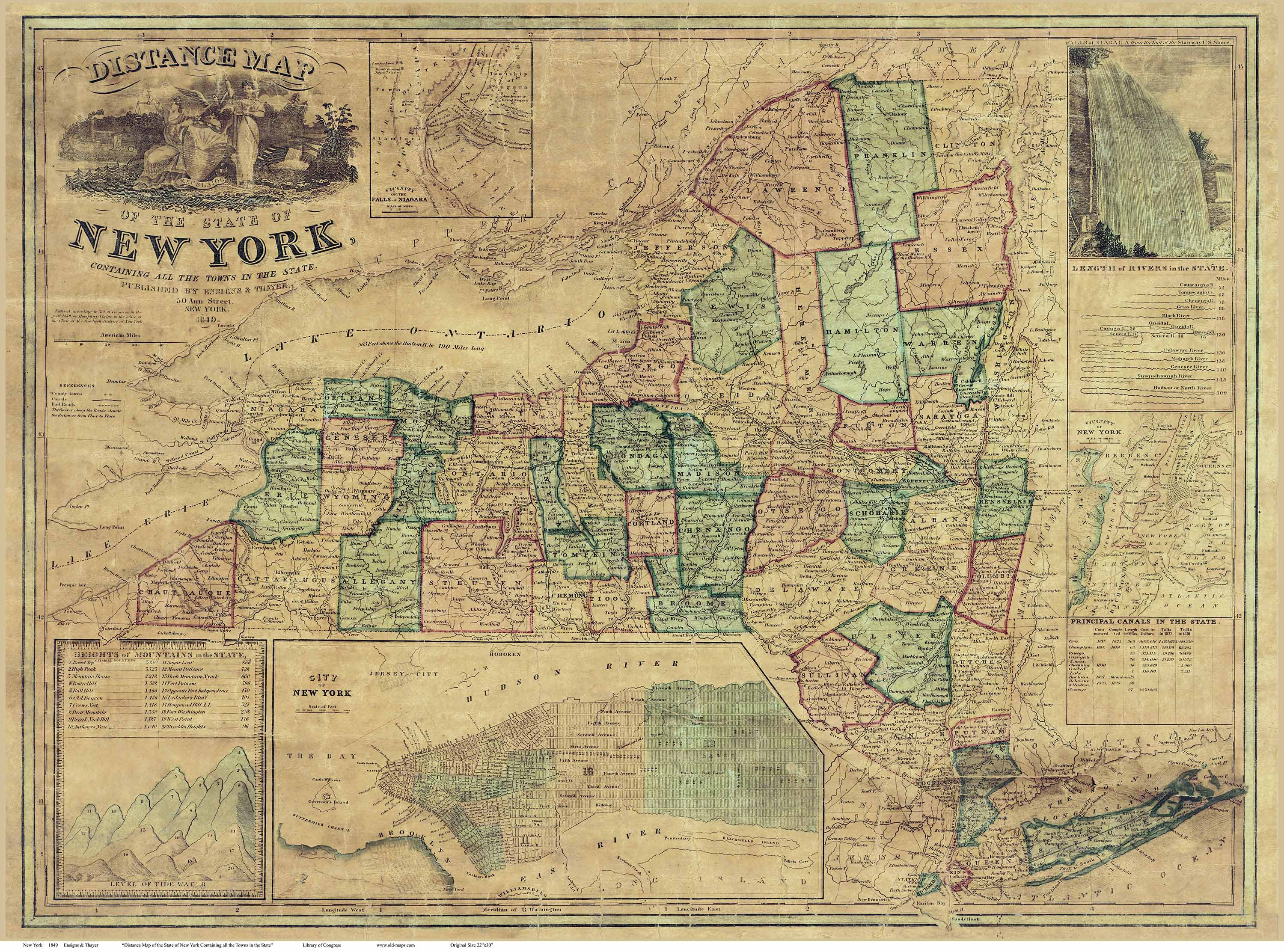 Prints of old new york state maps old state maps of new york 1849 ensigns thayer freerunsca Images
