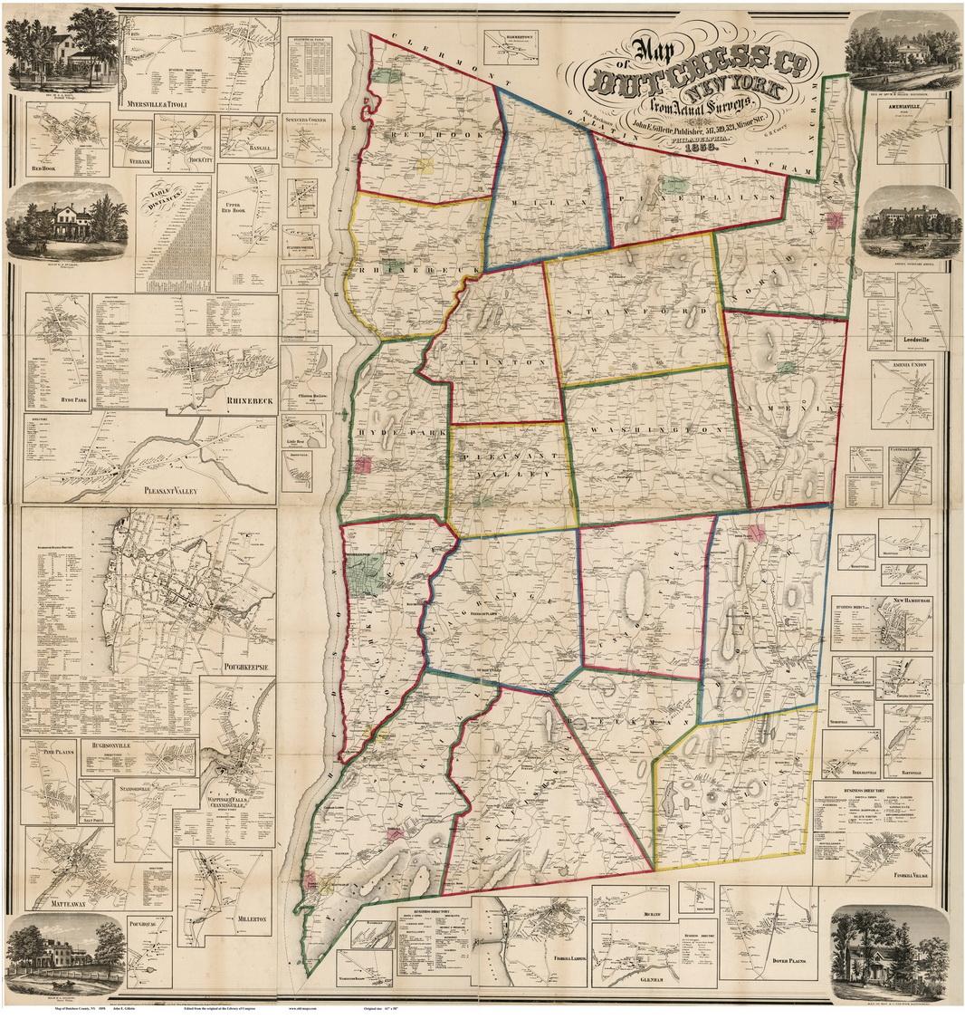 Map of Dutchess County NY 1858