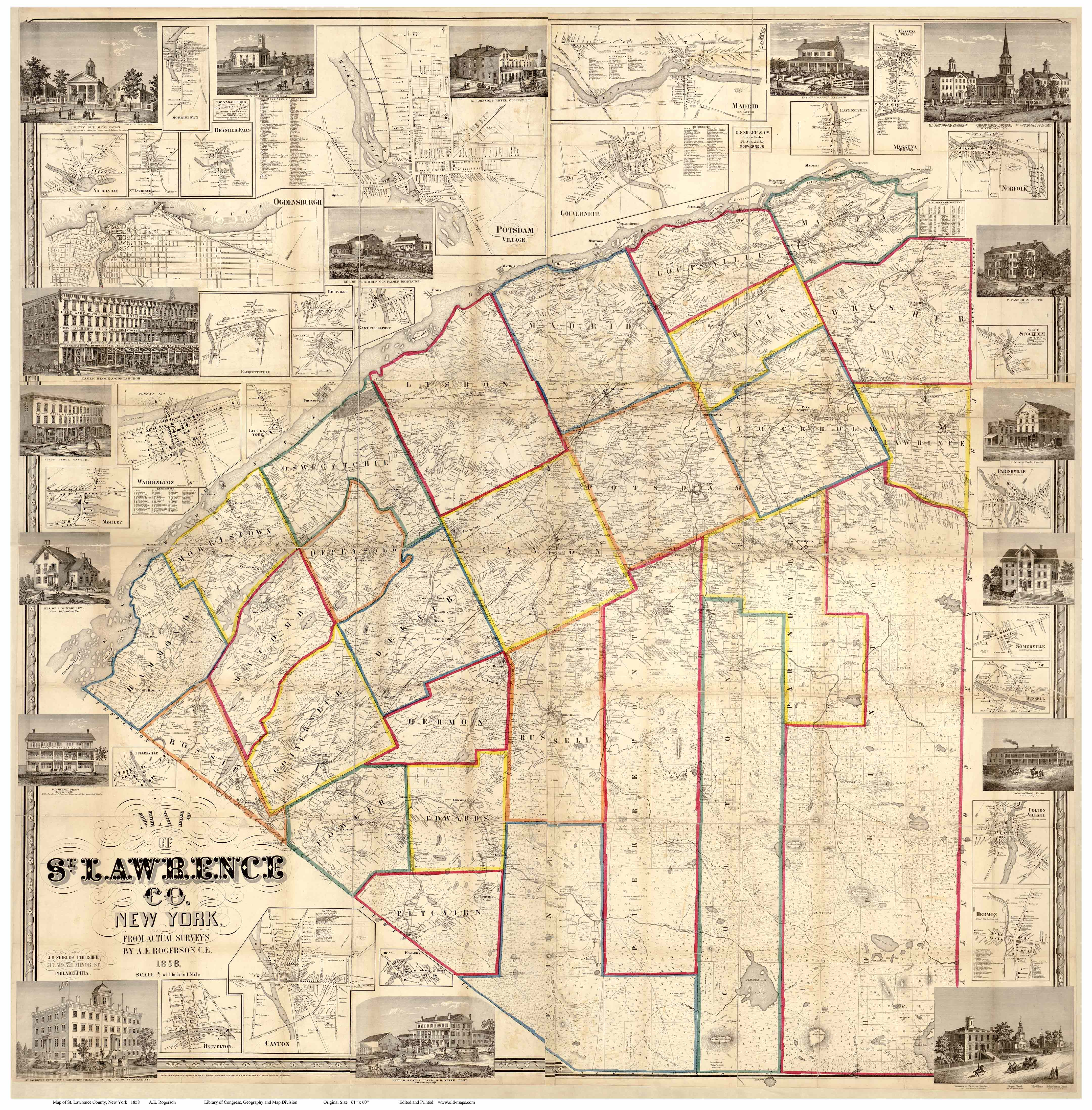Map of st lawrence county ny 1858 map of st lawrence co ny 1858 publicscrutiny Choice Image