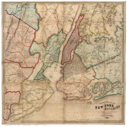Map Of New York City And Its Environs 1860