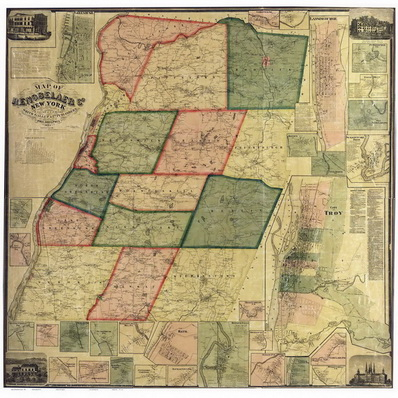 Rensselaer County NY 1861 Wall Map