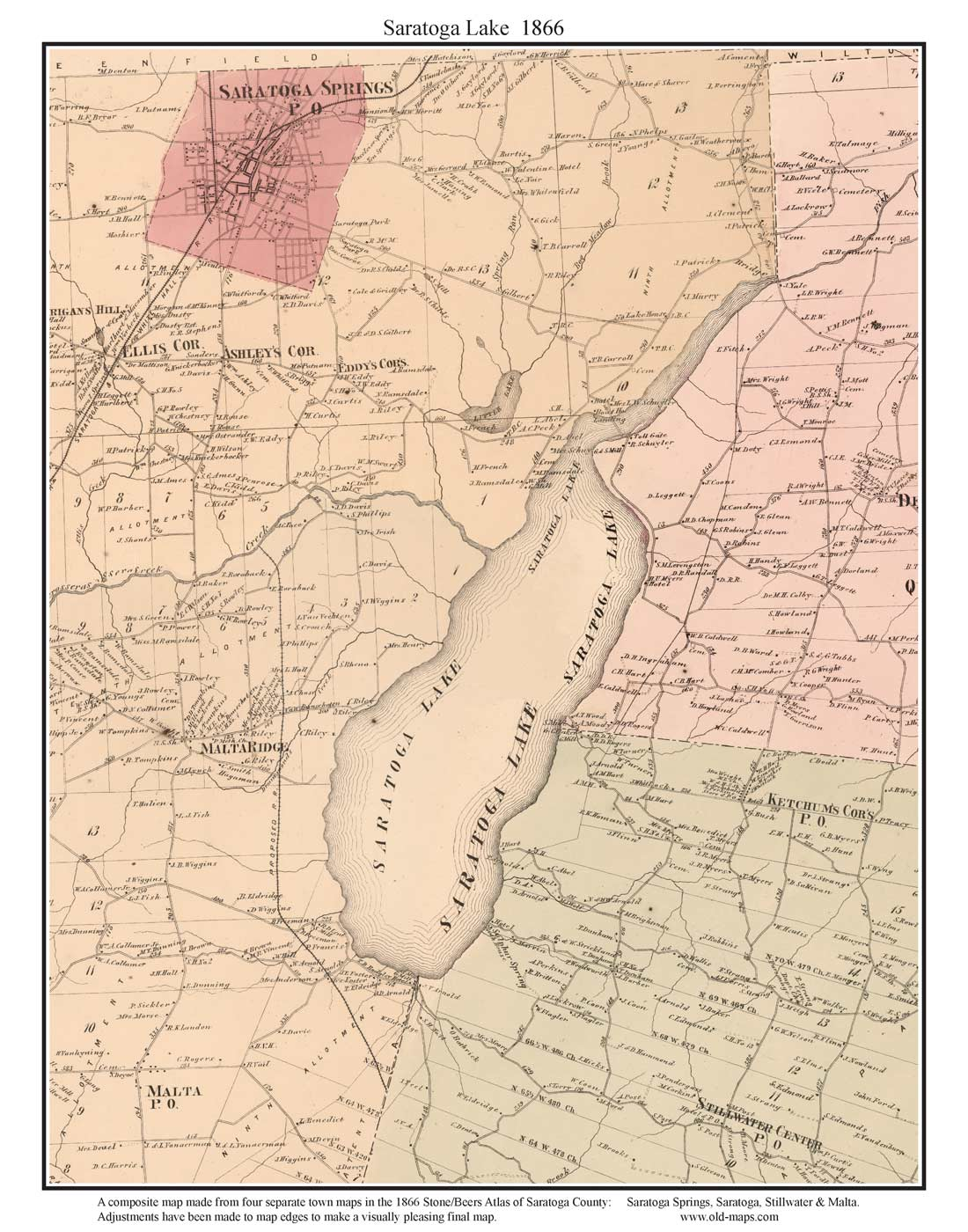 map of saratoga lake new york. prints of old new york state maps