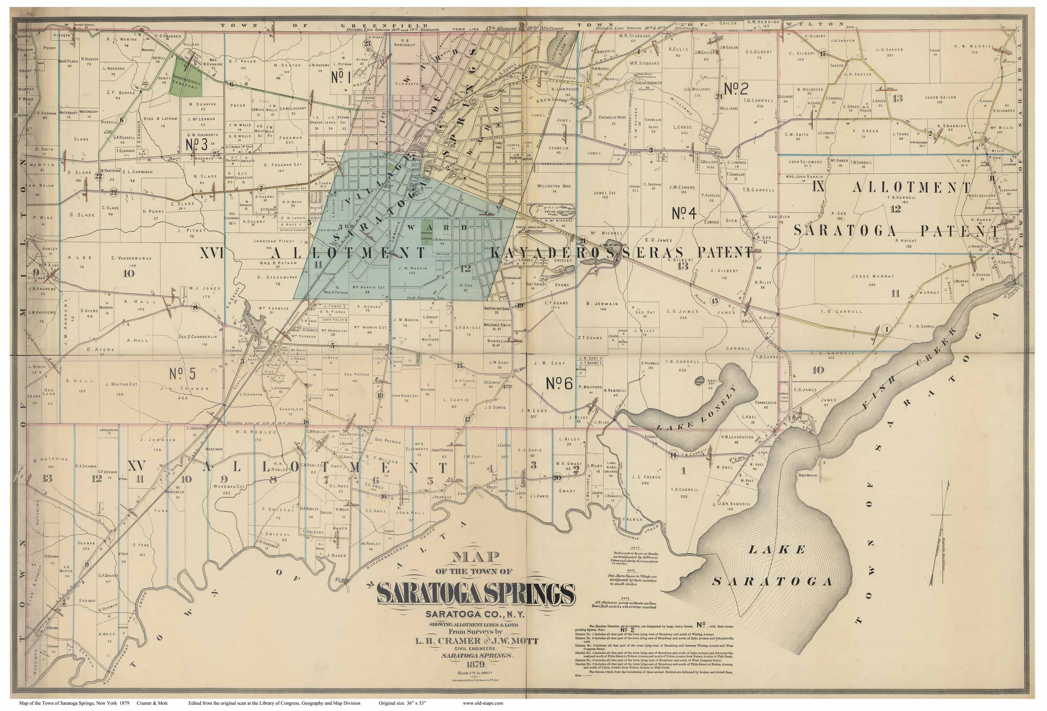 town map of saratoga springs new york. prints of old new york state maps