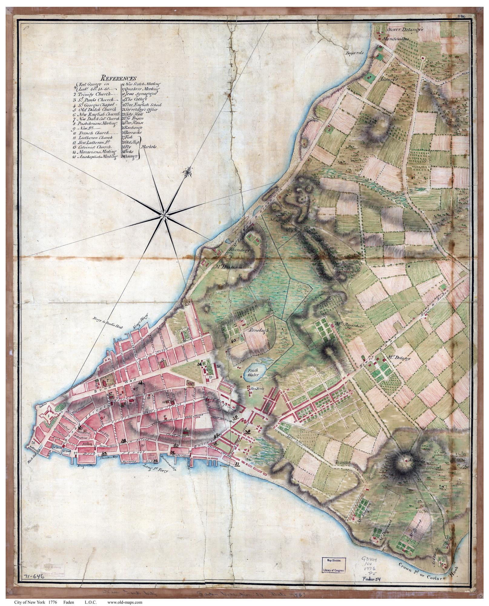 Manhattan Island Map Old Maps of Manhattan 1776