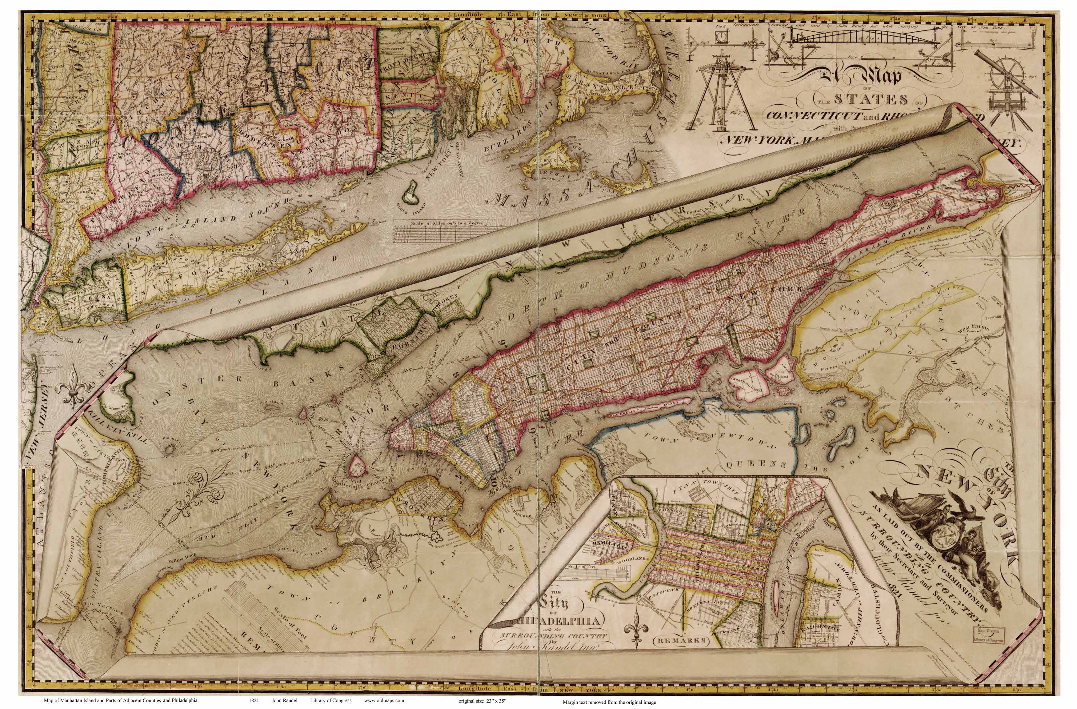 old maps of manhattan 1821 randel