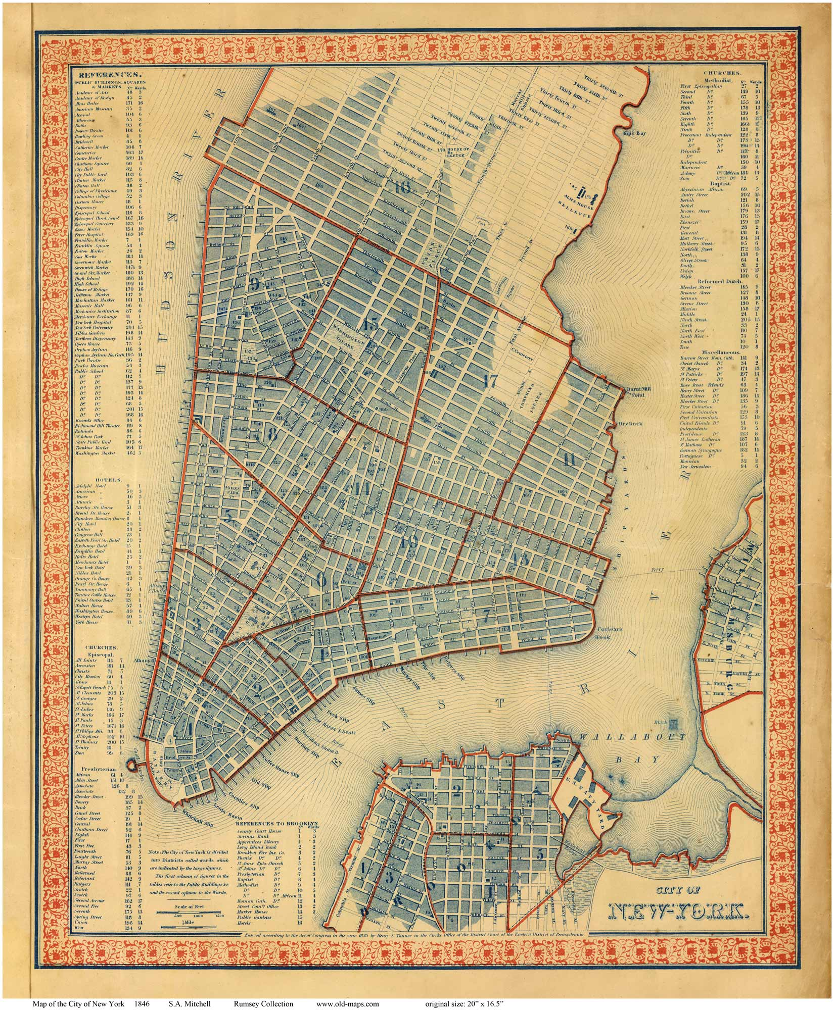 Old Maps Of Manhattan 1846 Mitchell