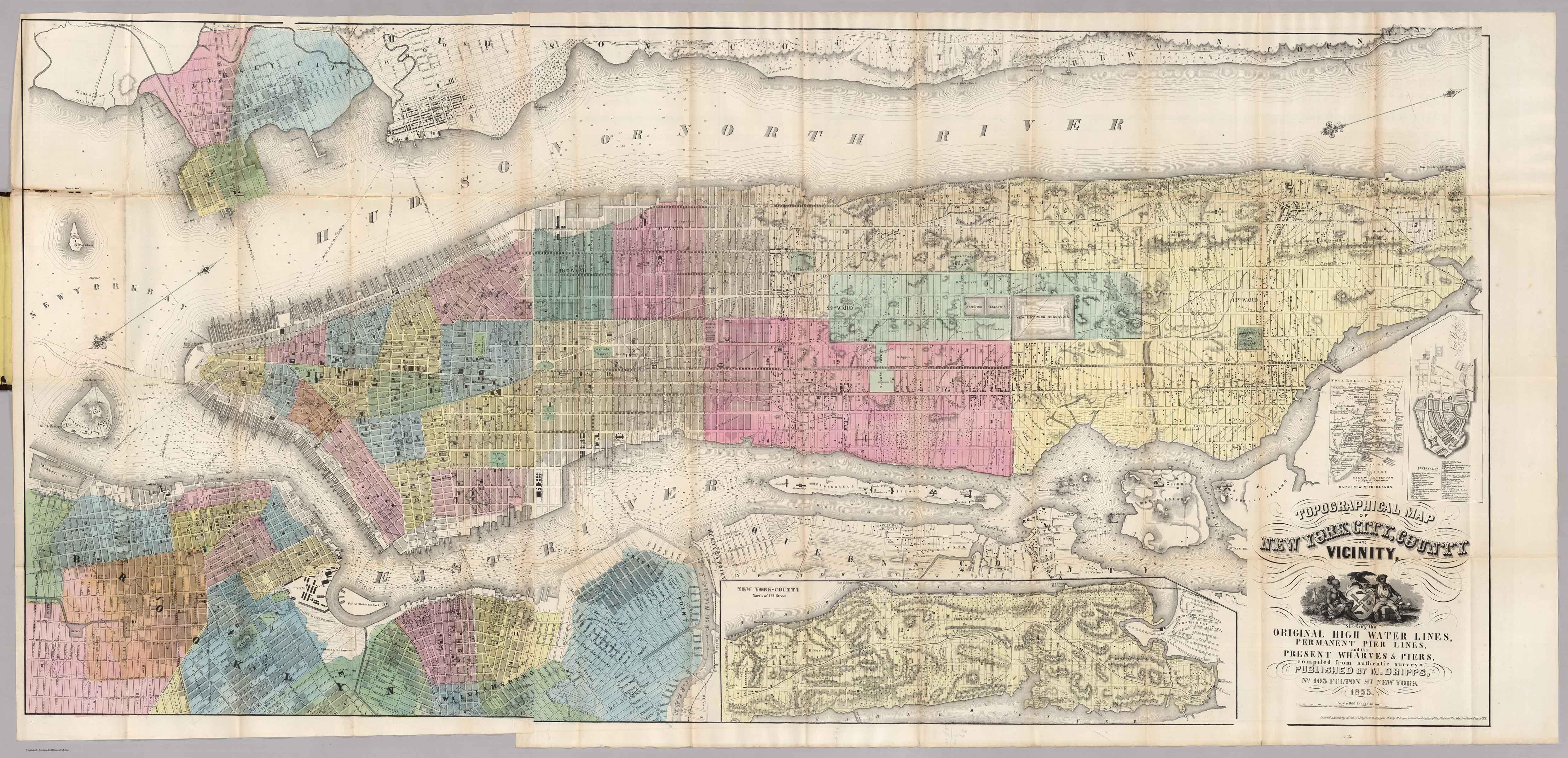 Manhattan Island Map Old Maps of Manhattan 1855