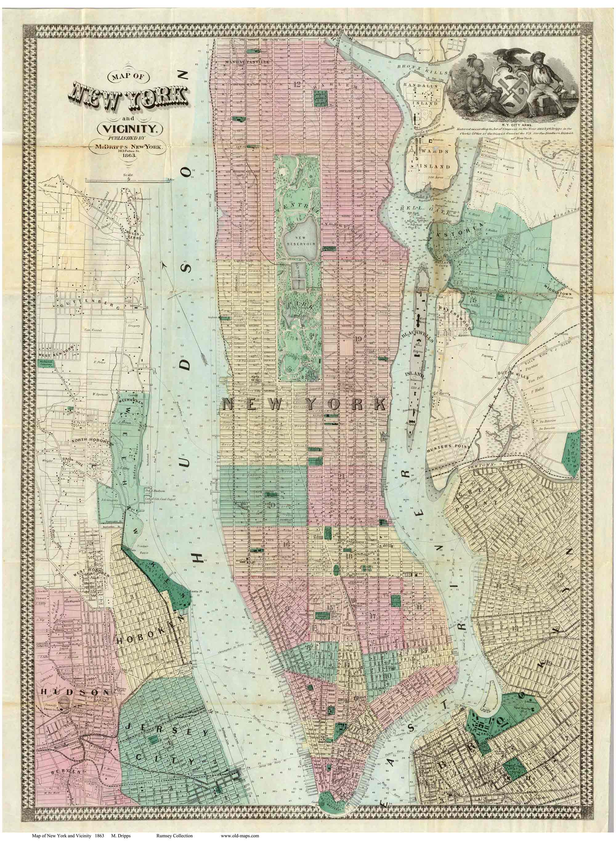 old maps of manhattan 1863 dripps