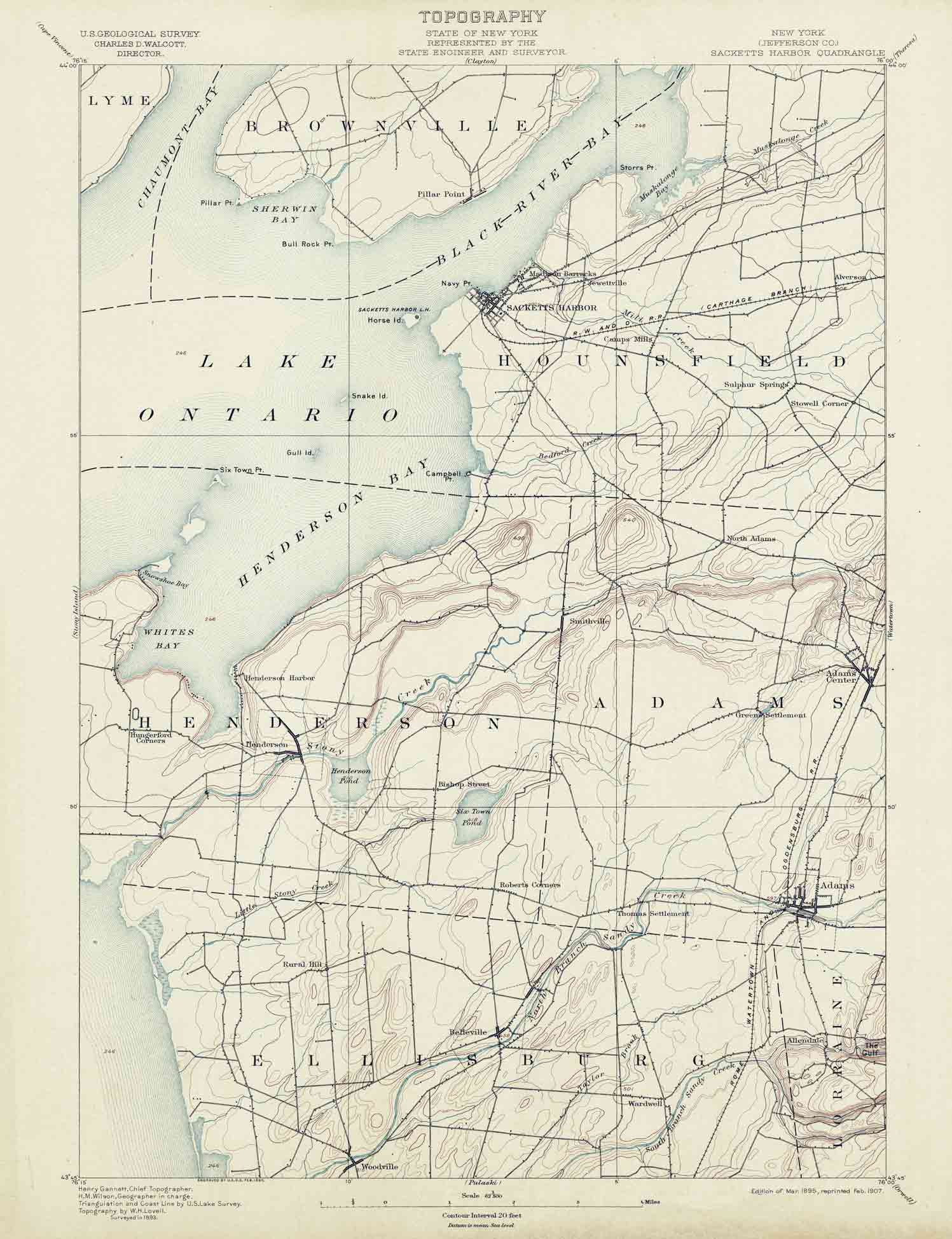 Old USGS Topo Maps Of Jefferson County New York - Nyc map topographic