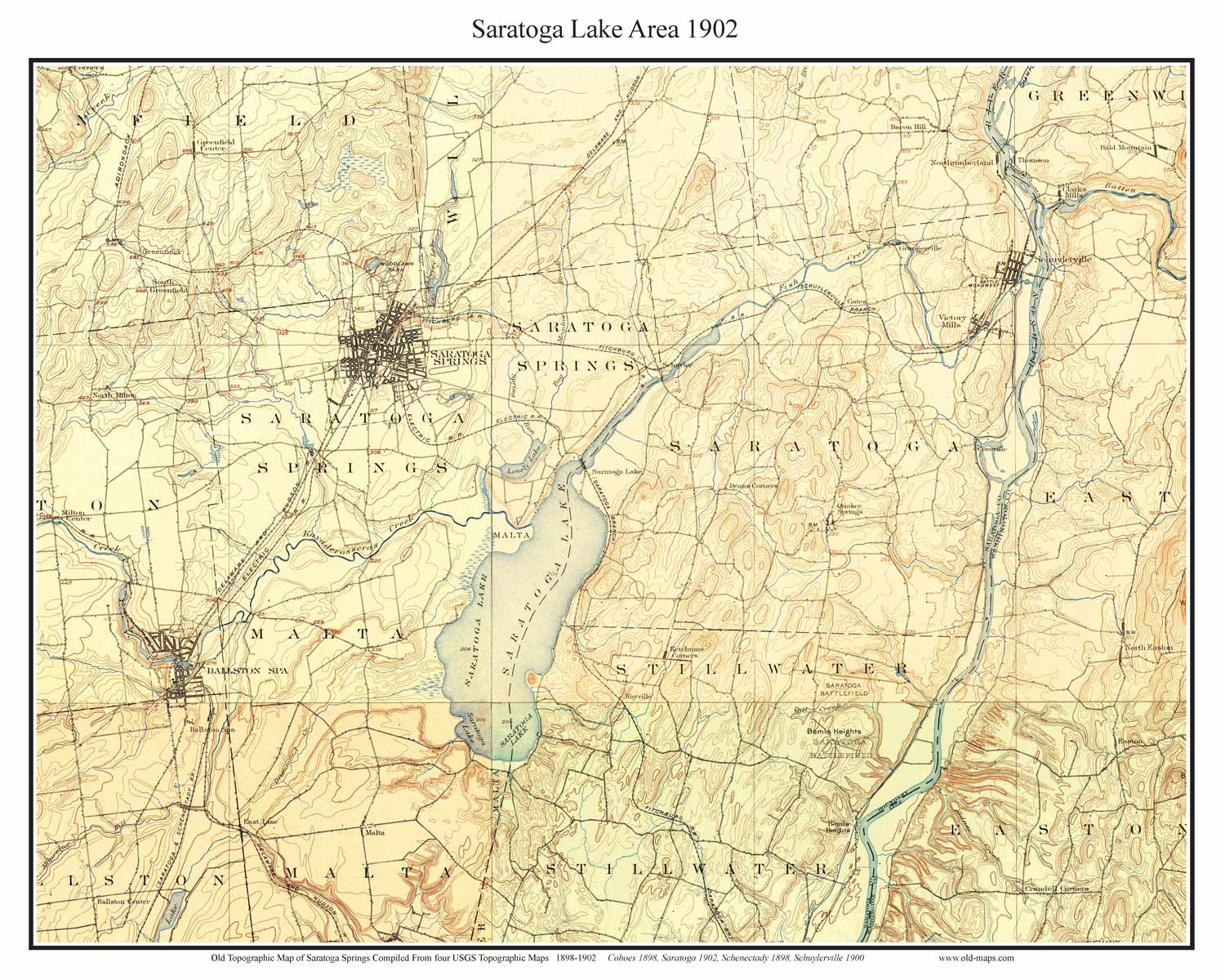 Old USGS Topo Maps Of Saratoga County New York - Nyc rat map