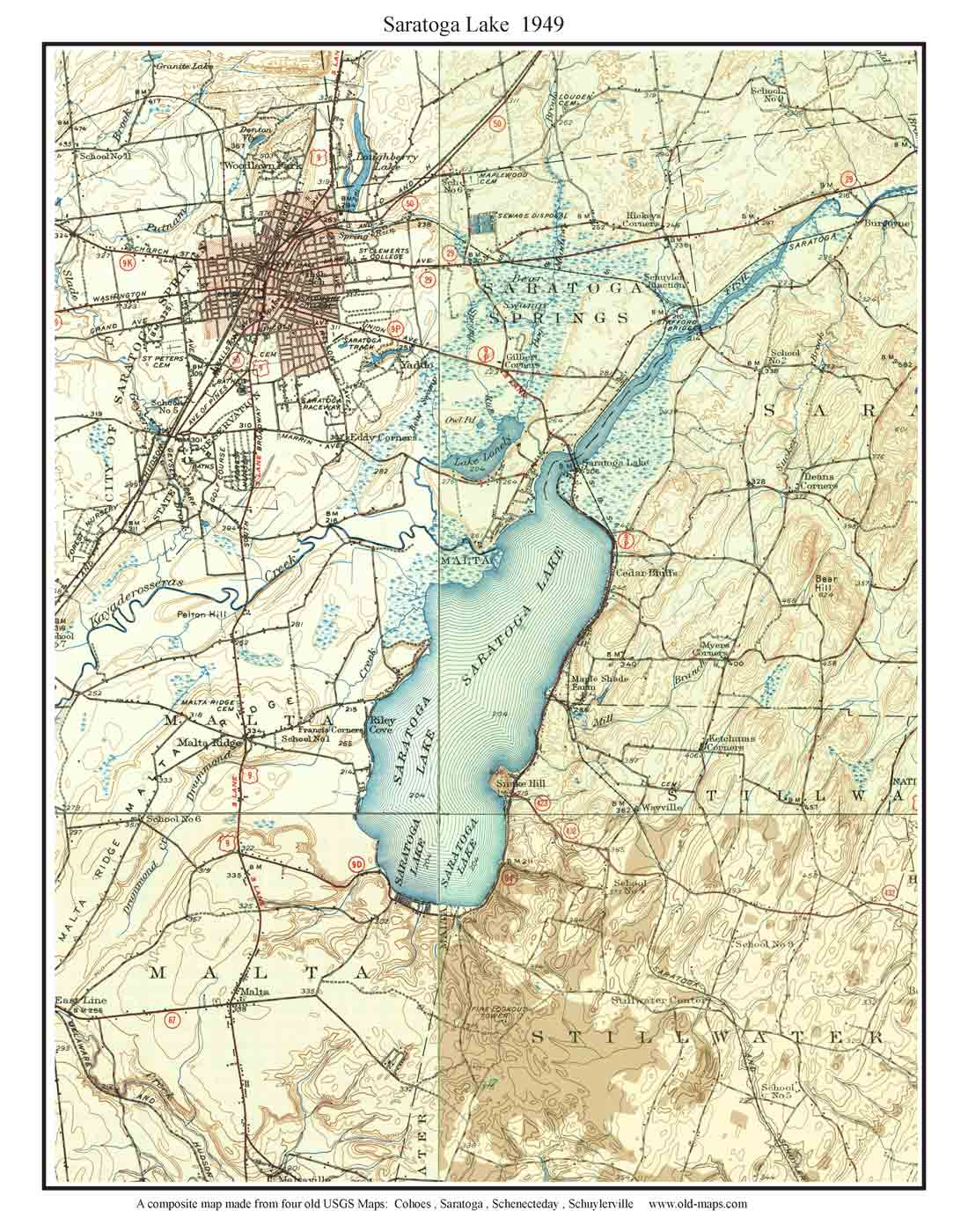 saratoga lake old usgs map . old usgs topo maps of saratoga county new york