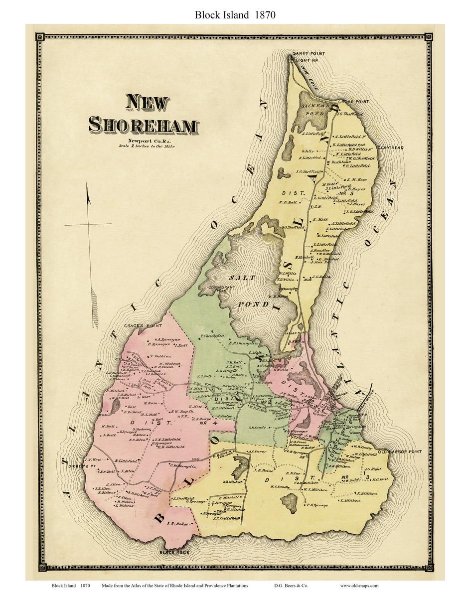 Block Island Rhode Island Map Old Maps of Block Island   Rhode Island