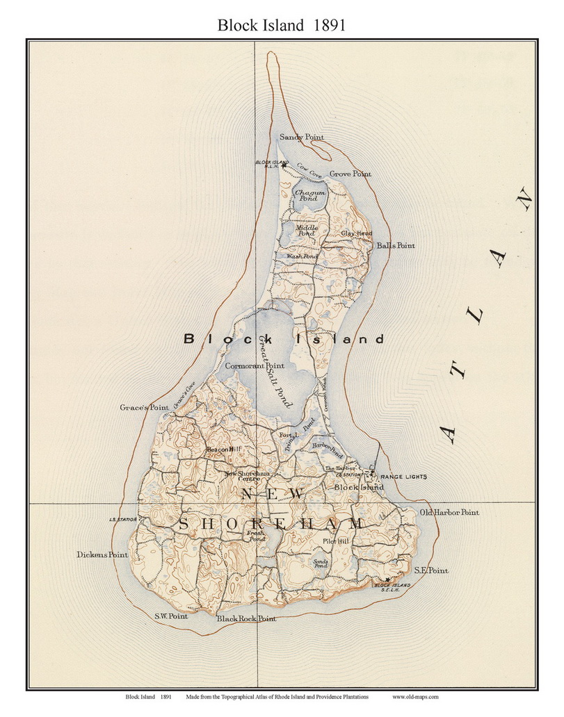 Old Topo Maps Of Block Island Rhode Island - Usgs map store