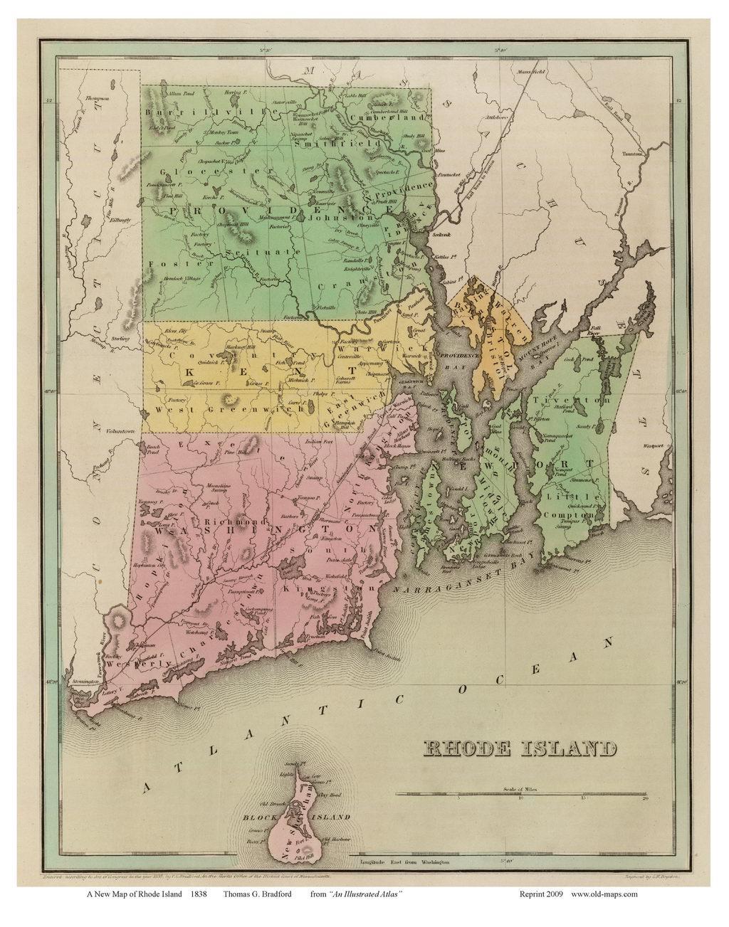 Rhode Island Colony Map 1636