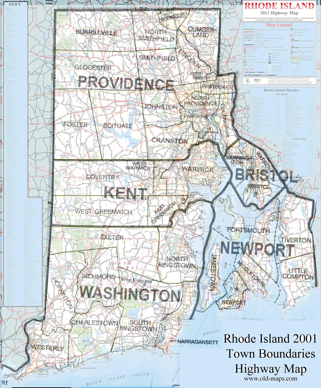 RI - Map of rhode island