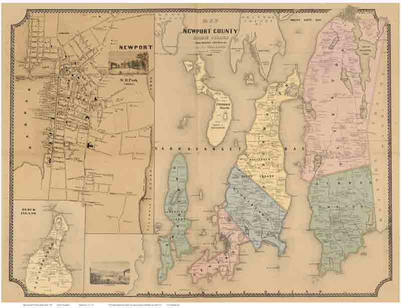 Rhode Island Map With Towns Old Maps of Rhode Island