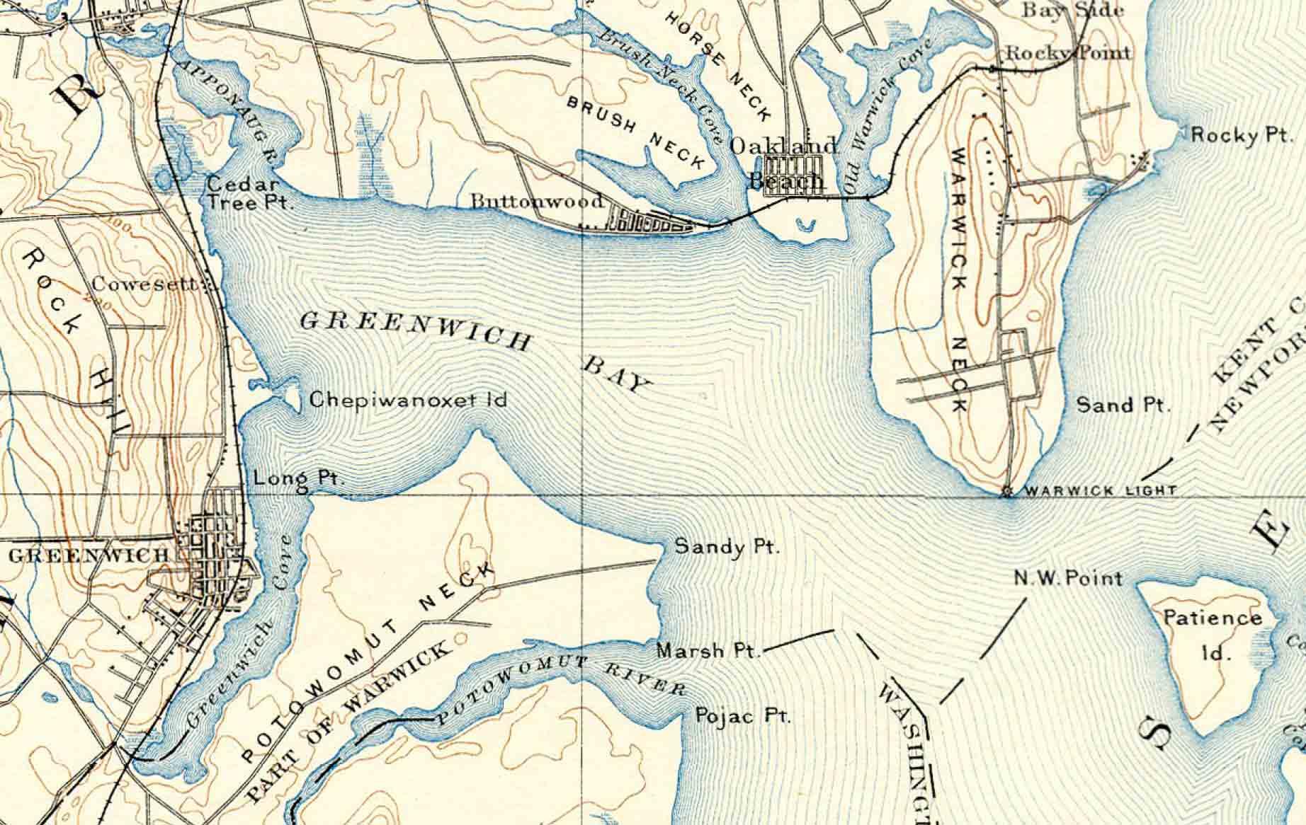 Detail Of The Narragansett Bay Usgs Topo Map