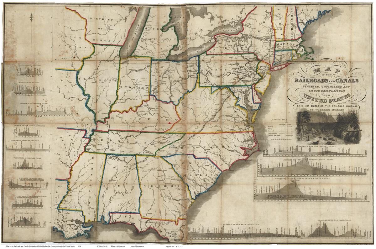 Old Railroad USA Map Prints - Us railroad wall map