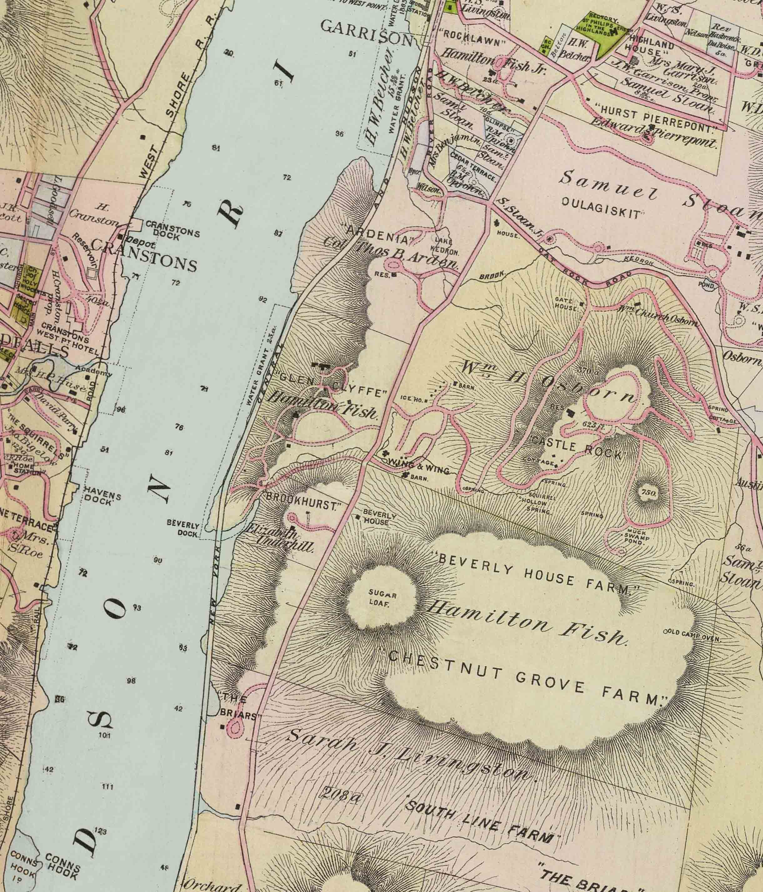 Garrison New York Map.New An 1891 Map Of Hudson River Estates Near West Point New York