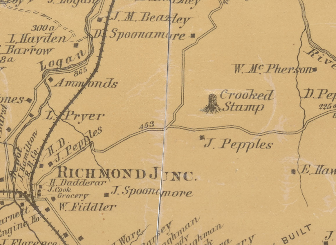 Crooked Stump on 1879 Kentucky County Map – Garrard & Lincoln County ...