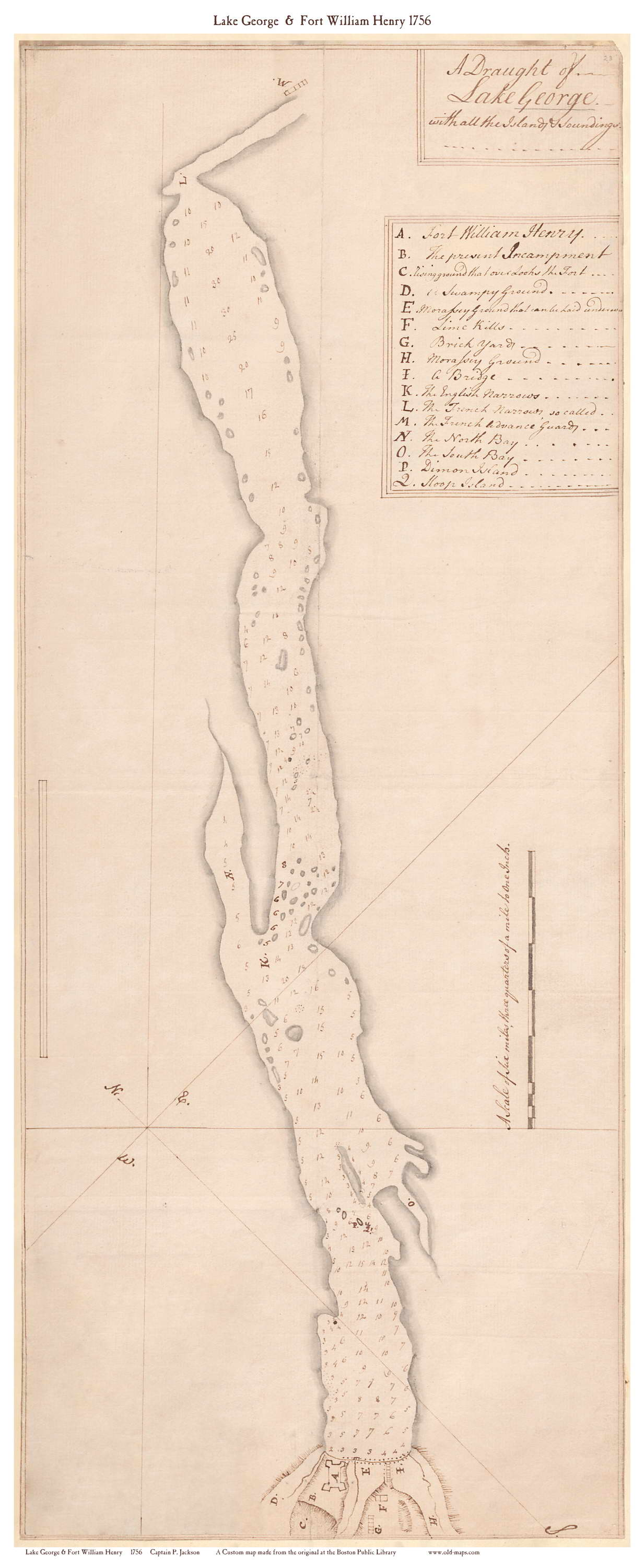 Lake George New York Map.Newly Added Map Of Lake George In New York From 1756 Old Maps Blog