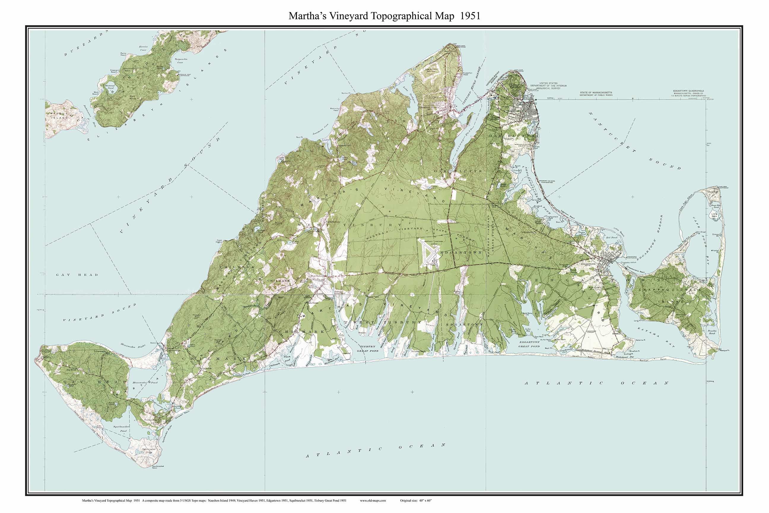 Martha's Vineyard 1951 Topographical Map