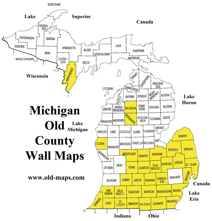 Michigan County Wall Maps Feb Old Maps Blog - Michigan county map