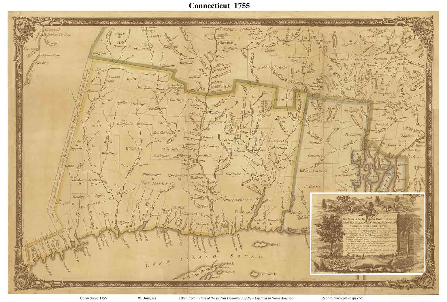 Old State Map Of Connecticut 1755 Douglass