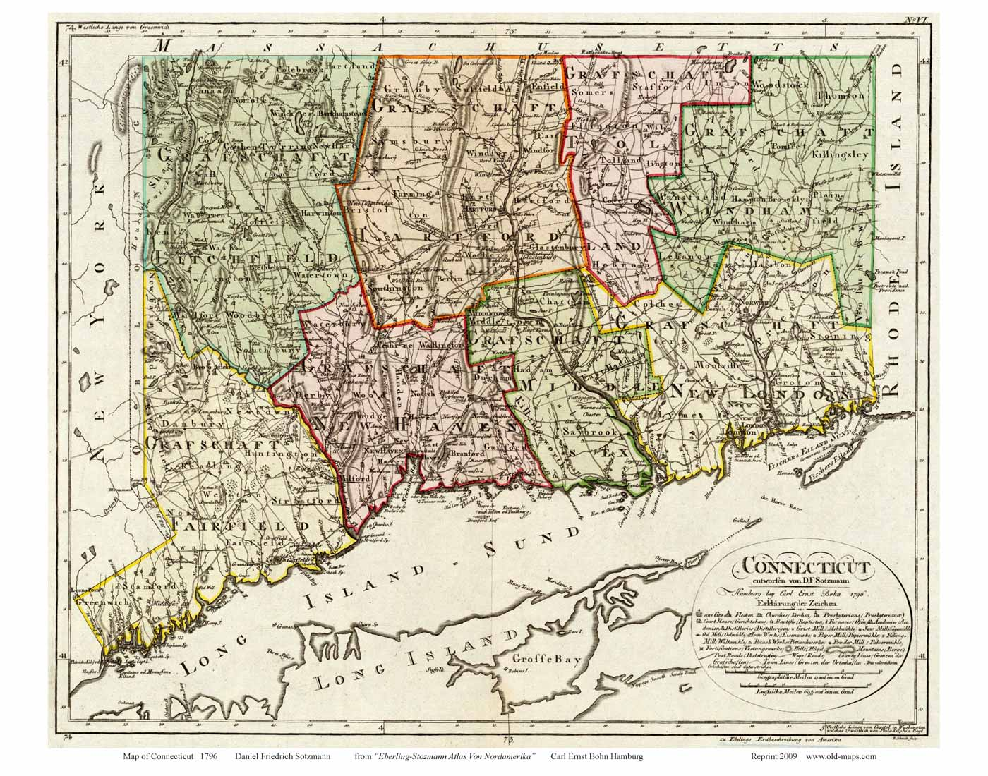 Old State Map Of Connecticut 1796 Sotzmann