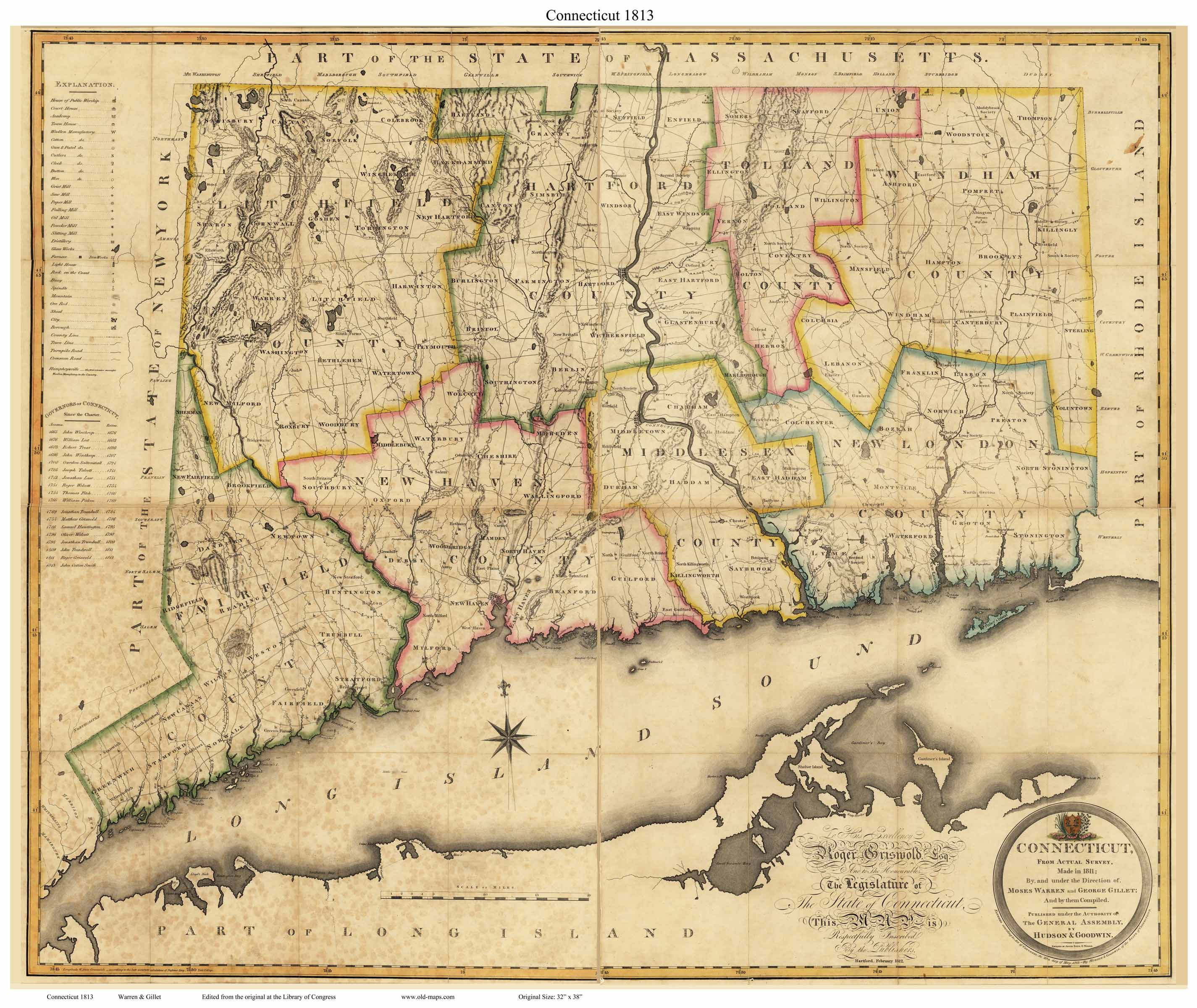 Old State Map Of Connecticut 1813 Warren Gillet