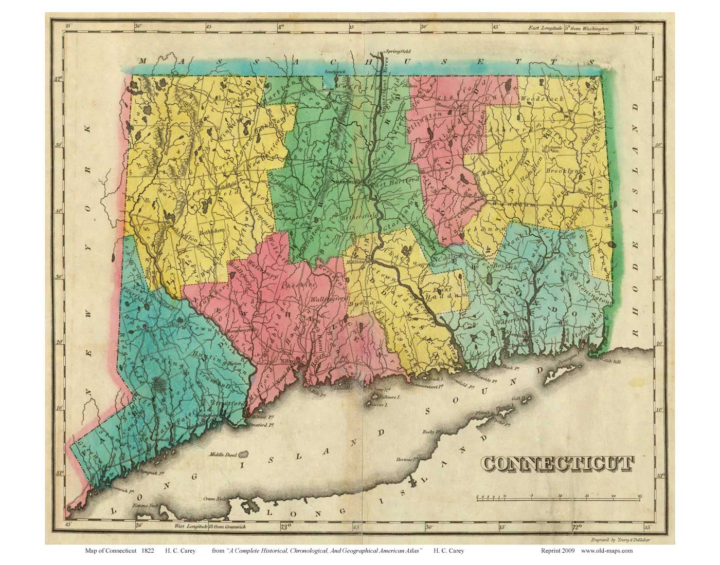 Old Maps Of Connecticut Reprints - Map of connecticut