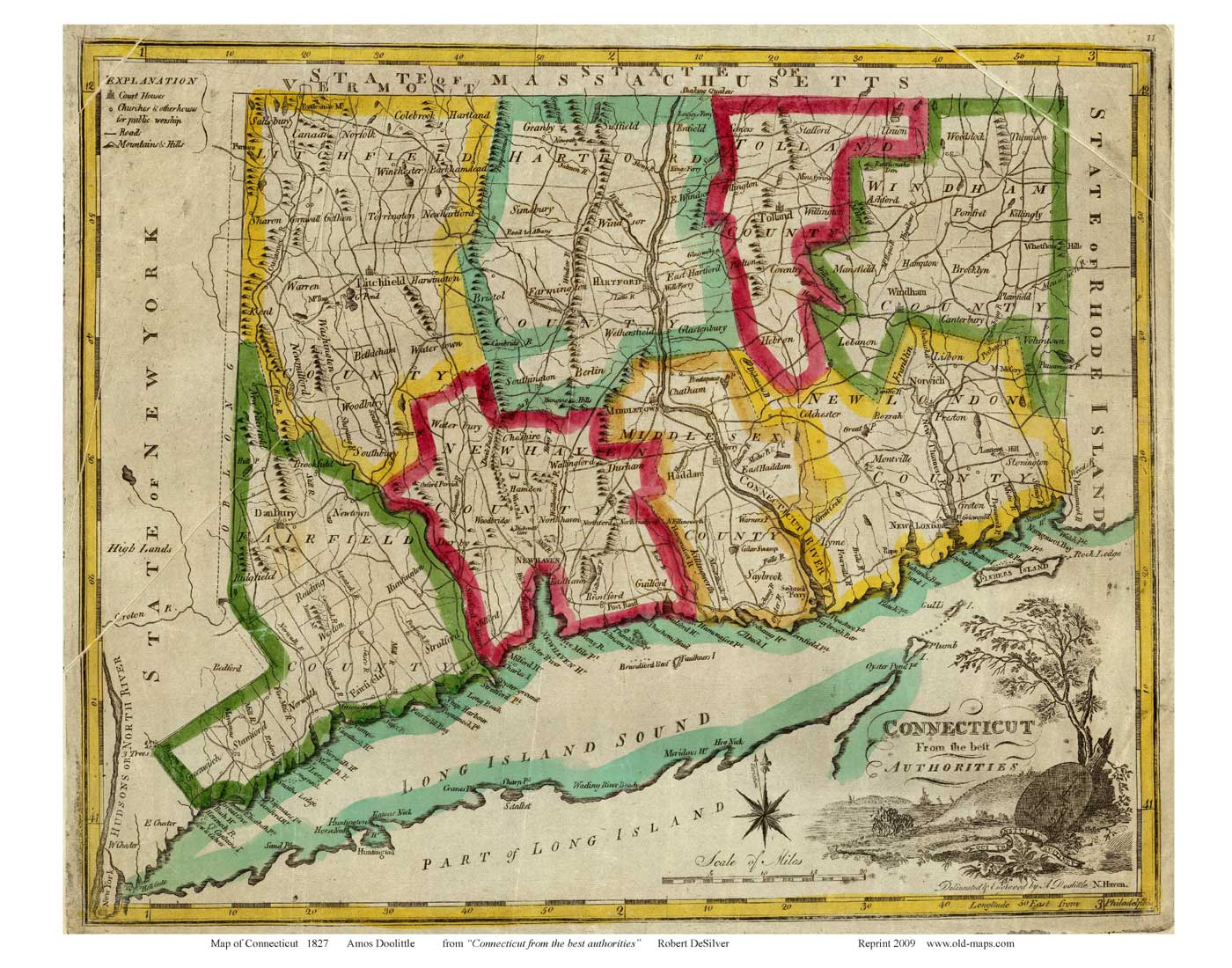 Old Maps Of Connecticut Reprints - Ct state map