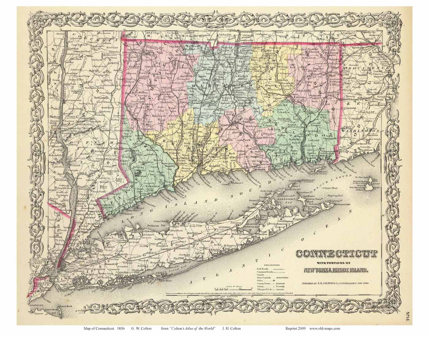 Old Maps Of Connecticut Reprints - Connecticut state map