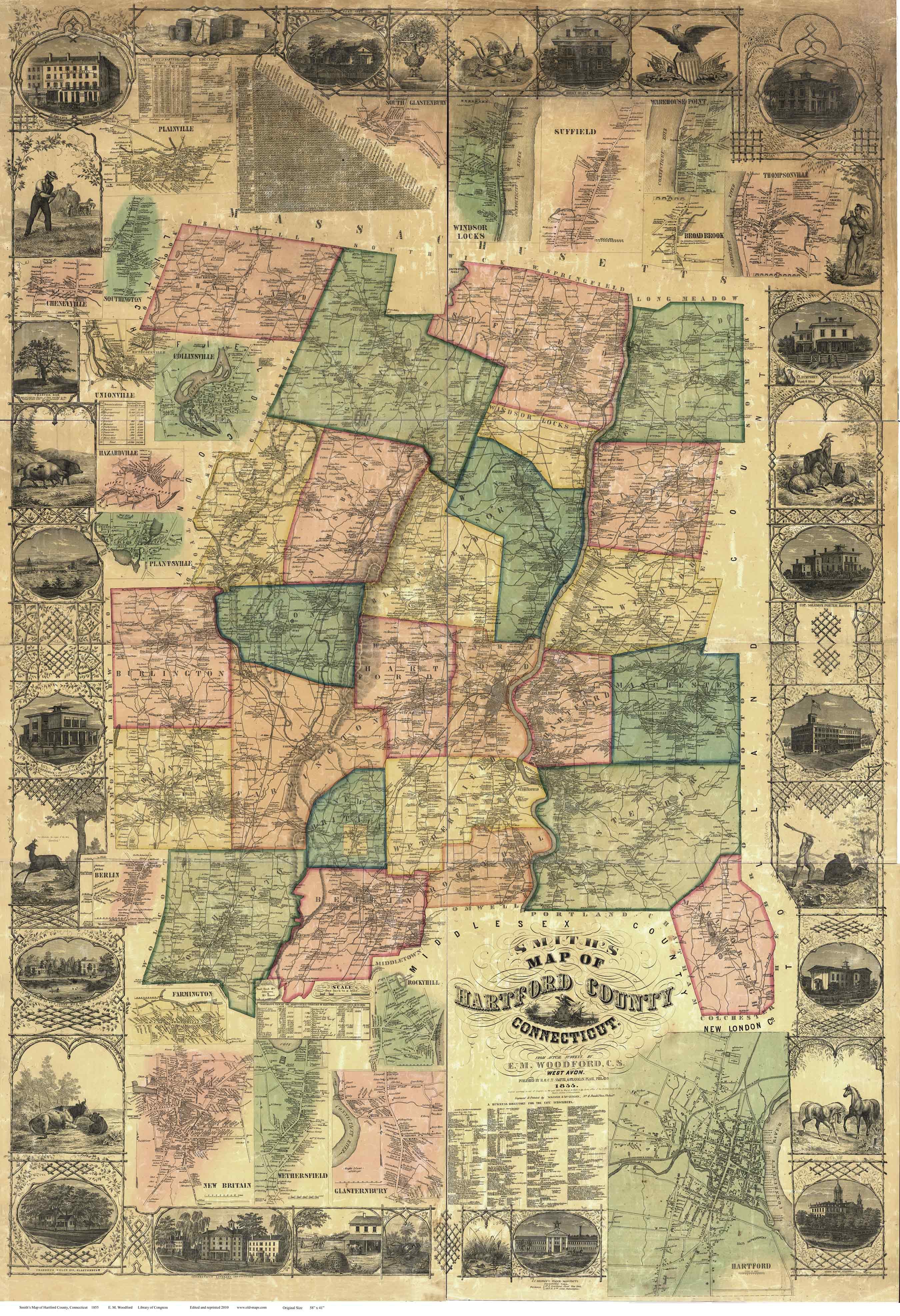 Map of Hartford County CT 1855 Wallmap Reprint