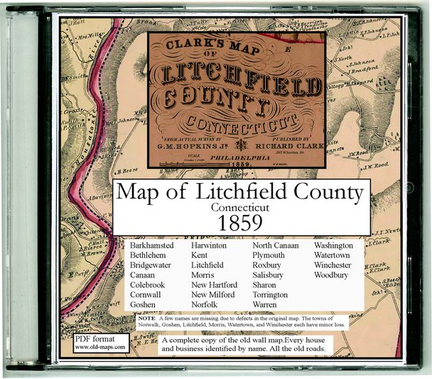 Map of Litchfield County, CT 1859 CDROM
