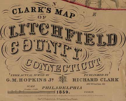 Map of Litchfield County CT 1859 Wall Map Reprint