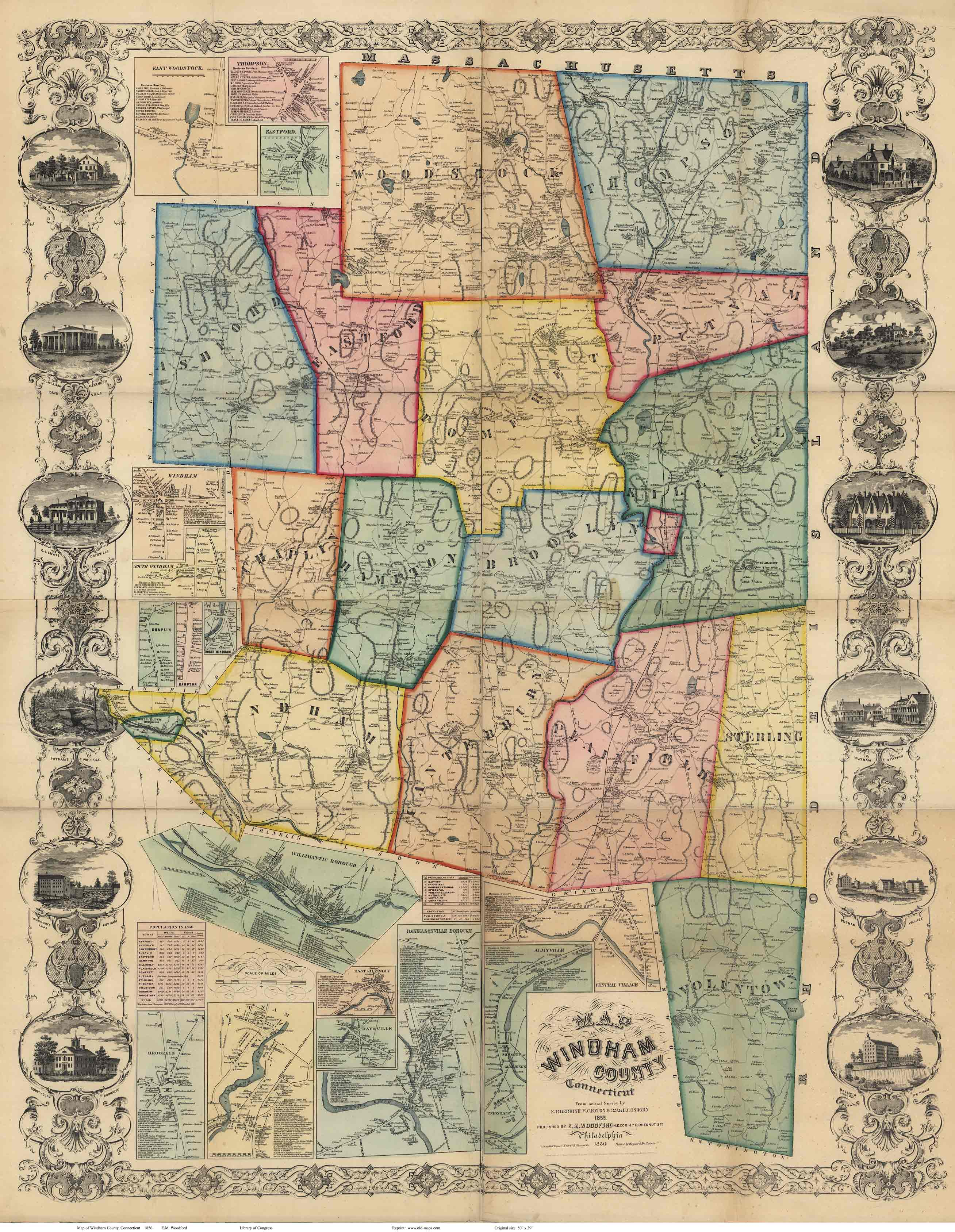 Map Of Windham County CT Wallmap Reprint - Connecticut county map