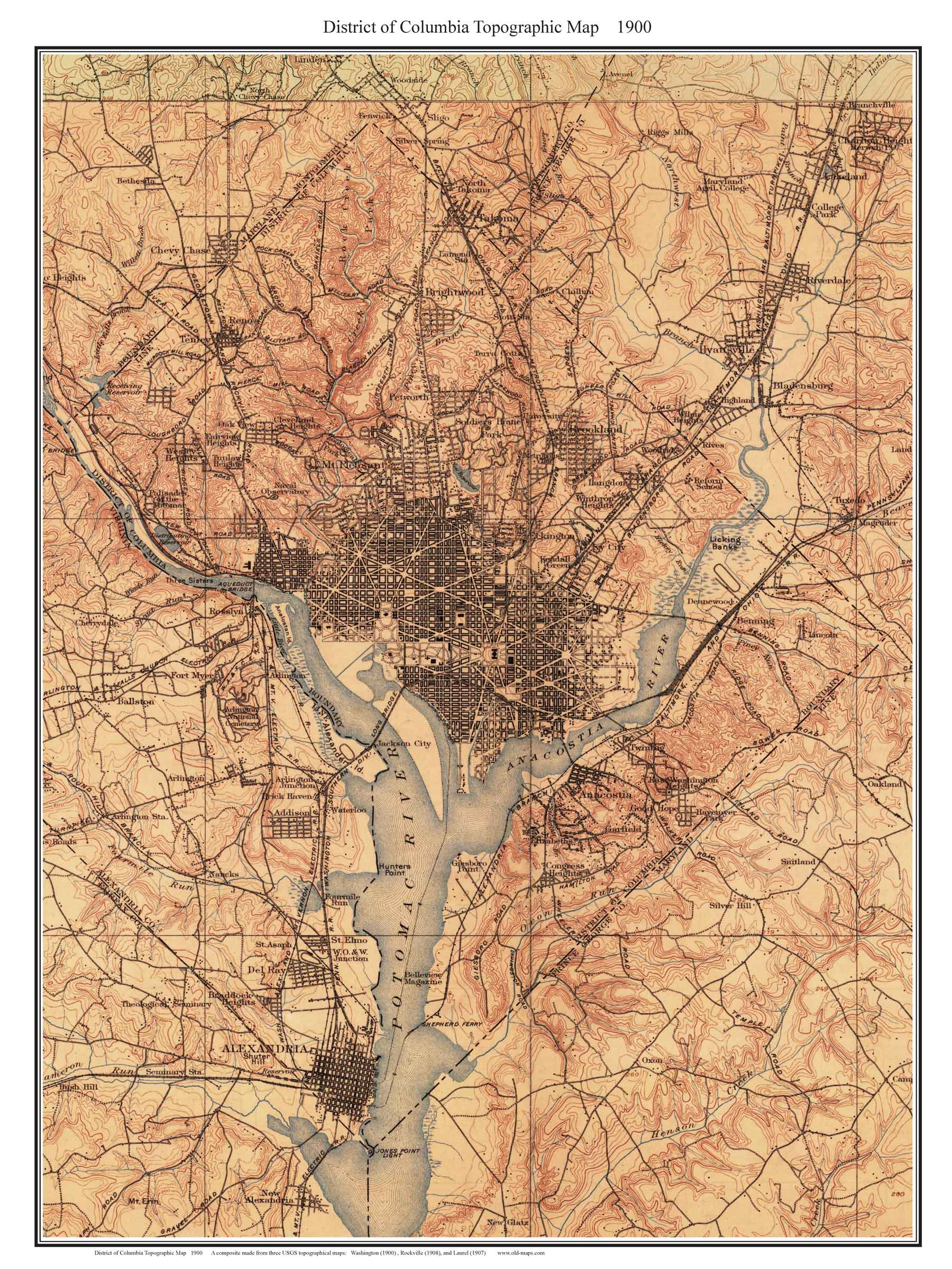 Topography Map Of Virginia.Old Topo Maps Of Washington D C